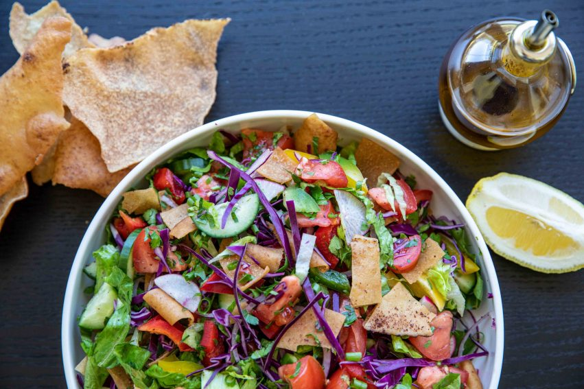 Fattoush Herb salad served in a bowl