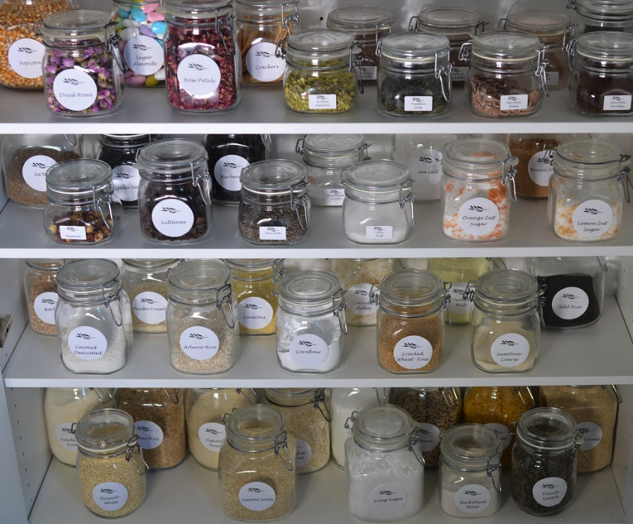 jars labelled in a pantry