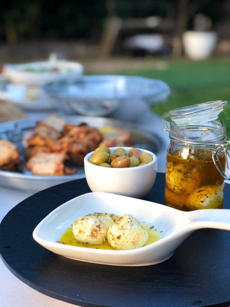 labneh cheese bites along side a barbecue outdoor