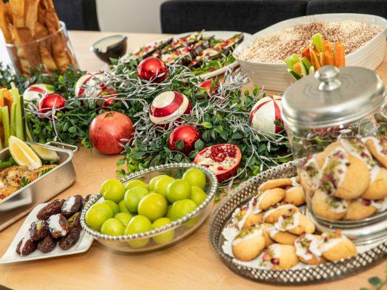 christmas food table set up