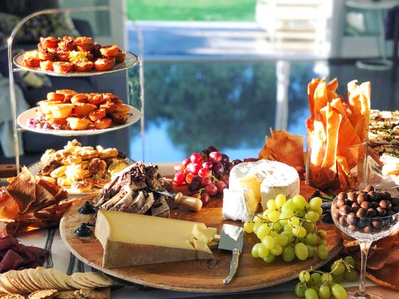 cheese board on a grazing table