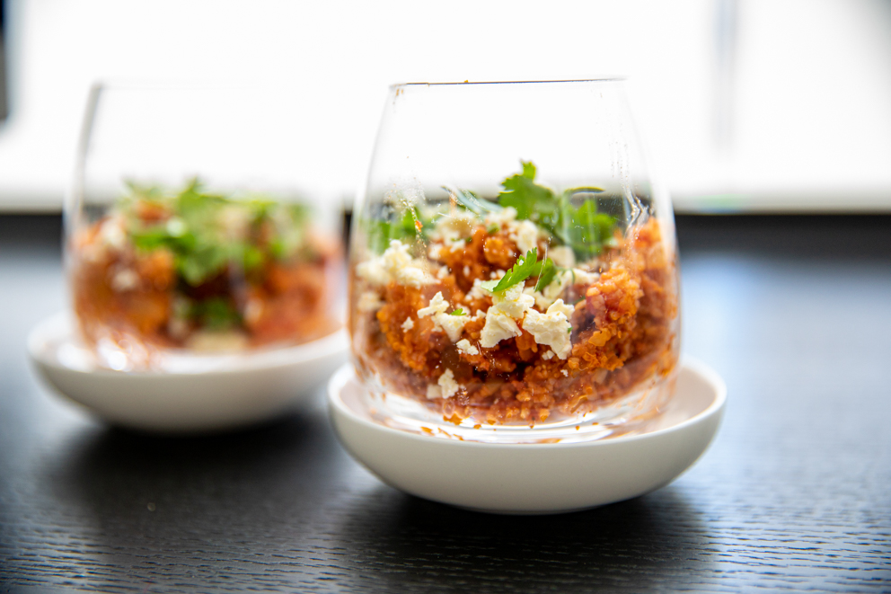 wholegrain cracked wheat in tomato broth served in individual glasses
