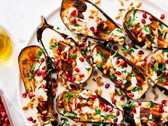 baked eggplants with tangy tahini sauce