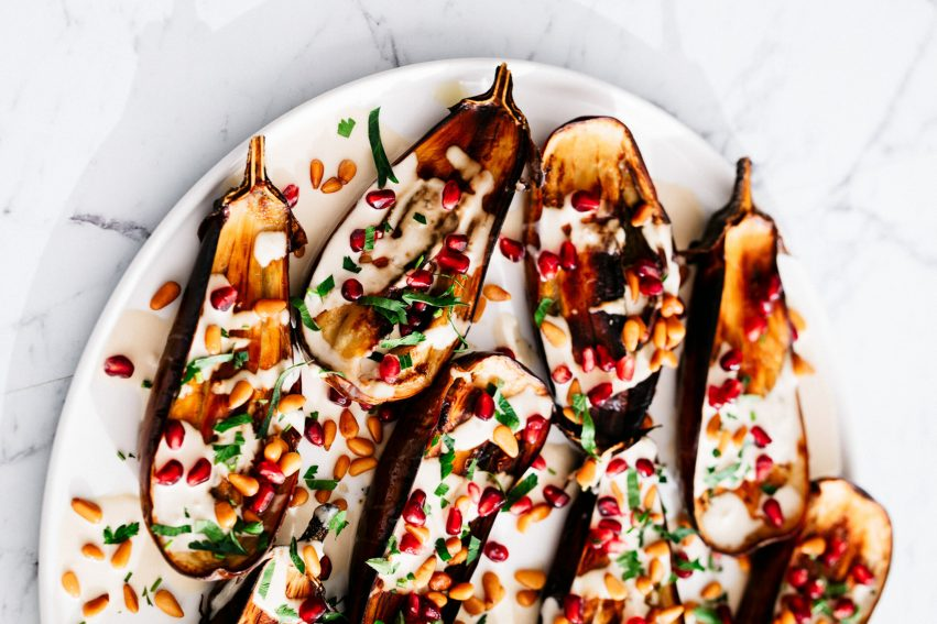 baked eggplant with tangy tahini sauce