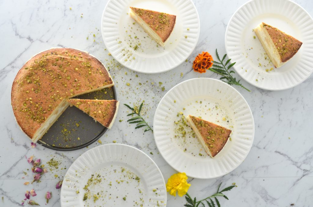 honey ricotta and pear cake with a hint of rosewater