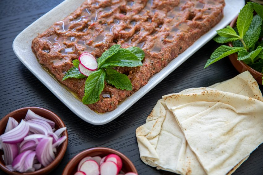 kibbeh Nayeh served with onion and raddish