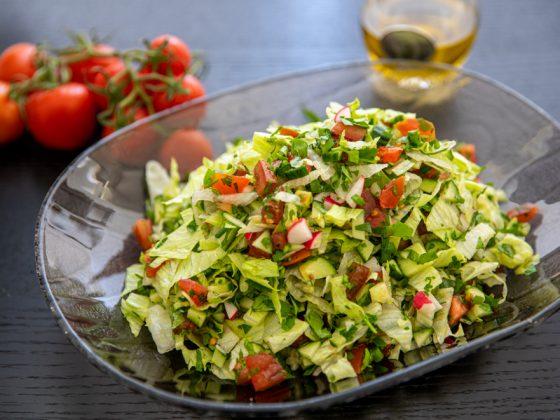 super herb salad served in a bowl