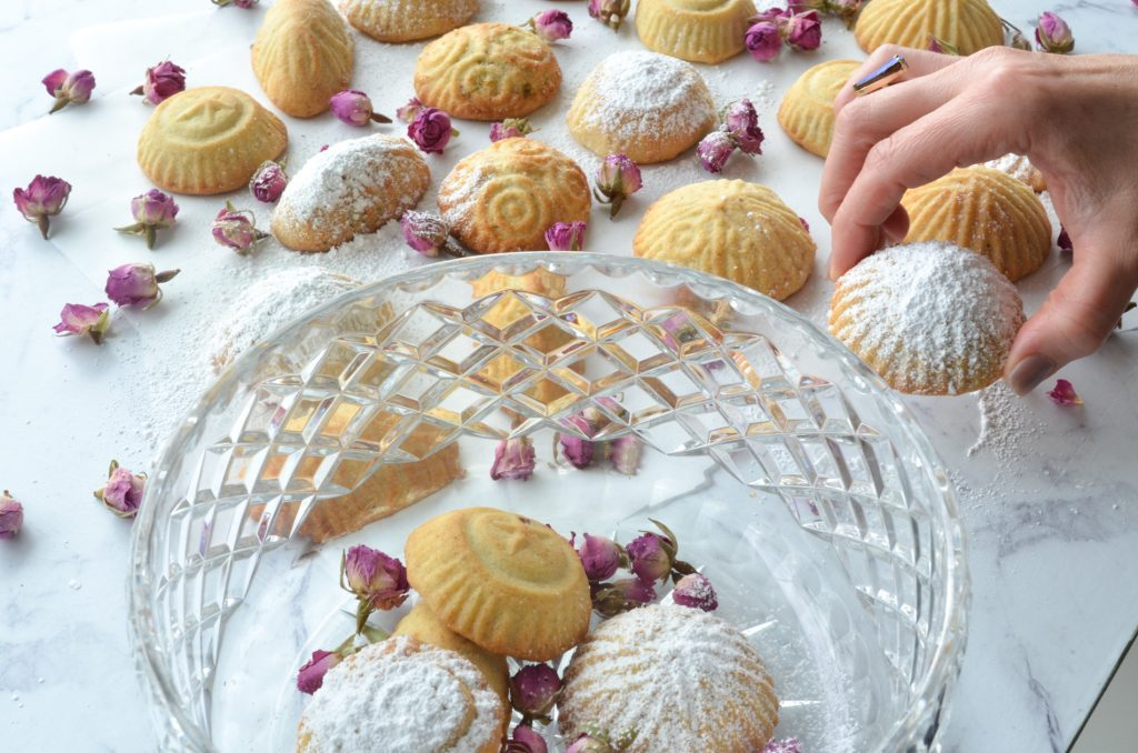 Ma'amoul Cookies served in a cystal bowl for Eid