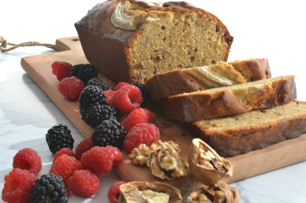banana bread with mixed berries