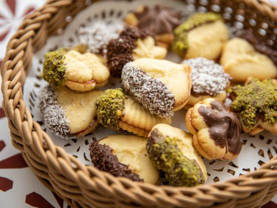 petit fours cookies served in a basket