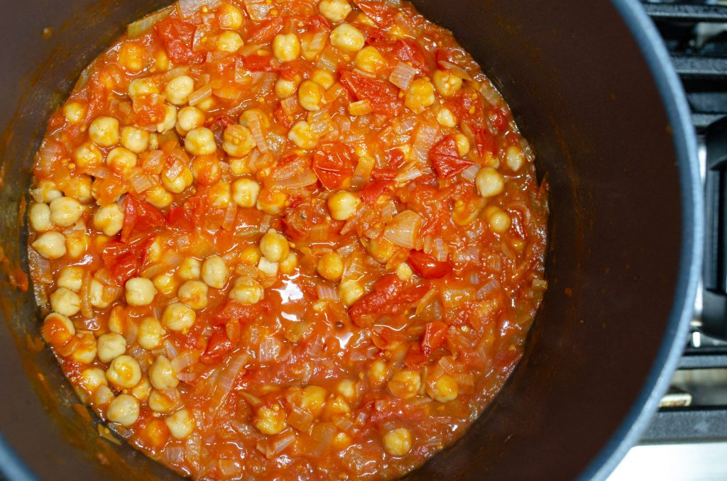 add drained chickpeas to the tomato sauce