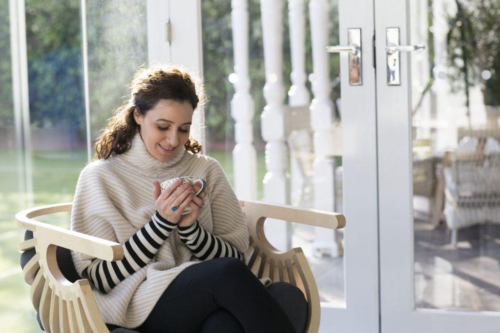 rouba shahin drinking hot cocoa