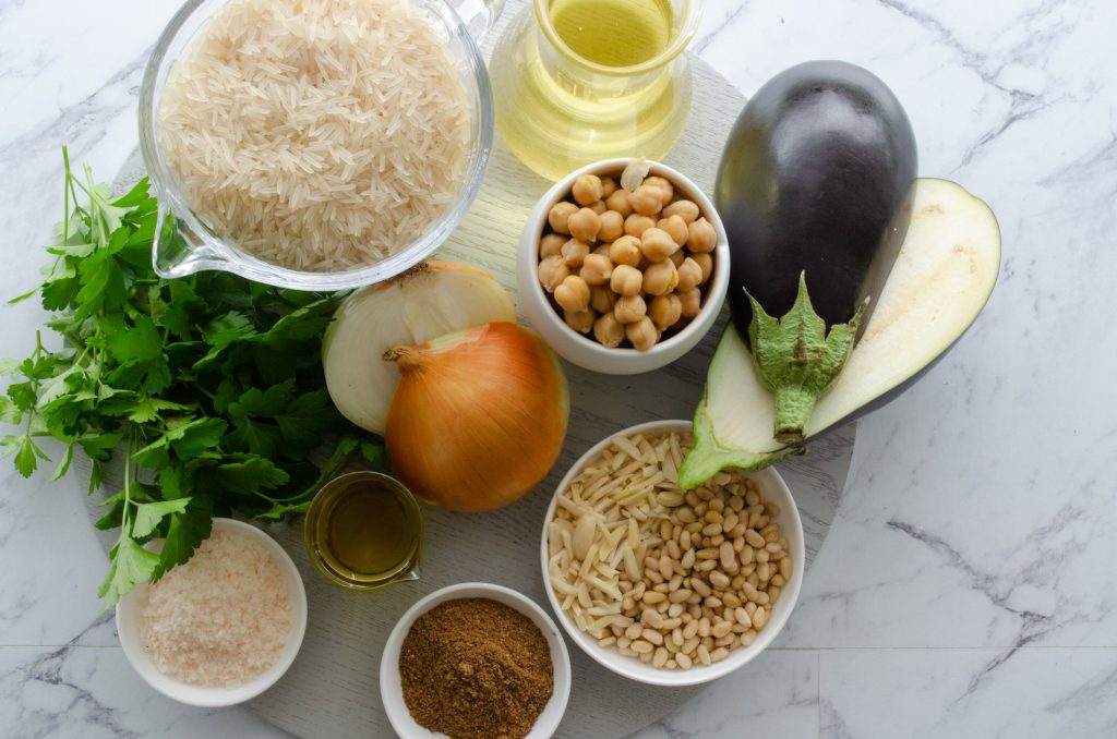 chickpea and eggplant rice ingredients
