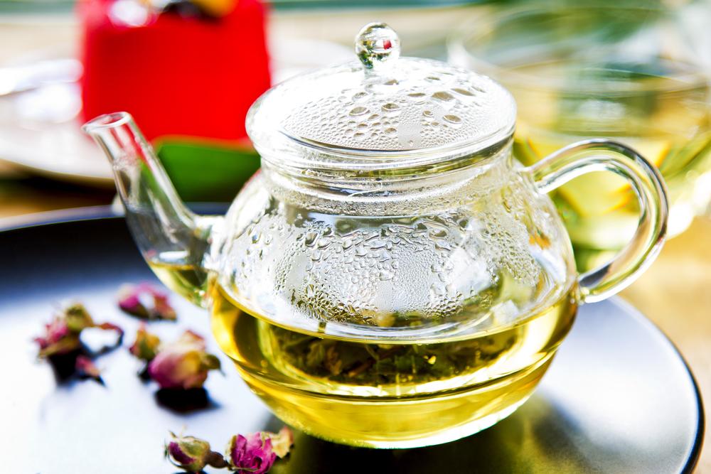 Verbena herbal tea in a tea pot