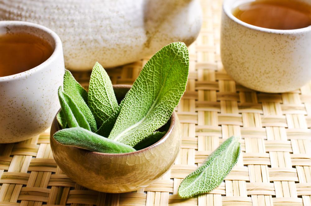 Fresh sage leaves added to black tea