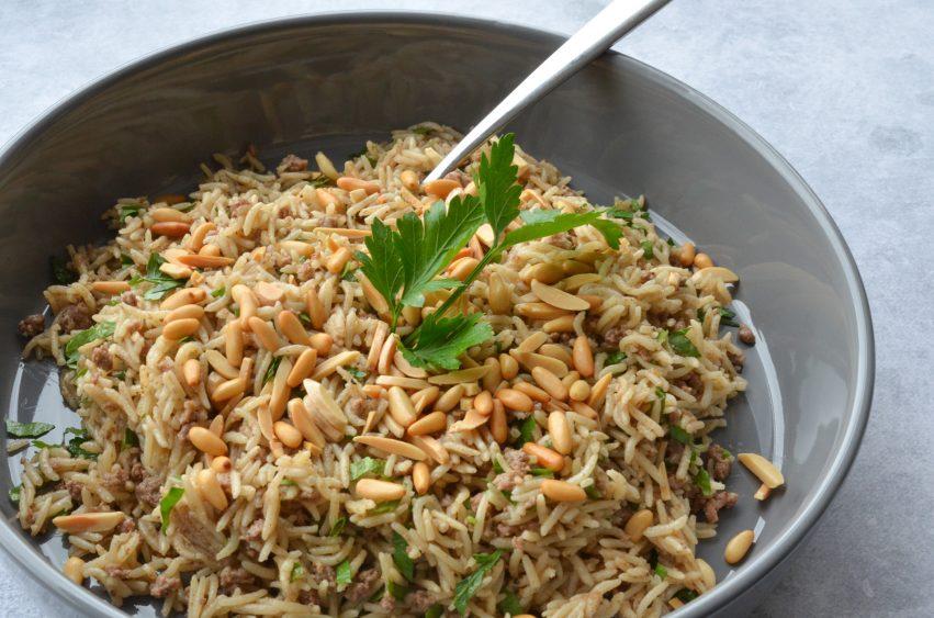 arabian spicy nut rice served