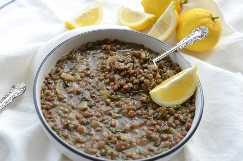 lentil and spinach soup in a bowl