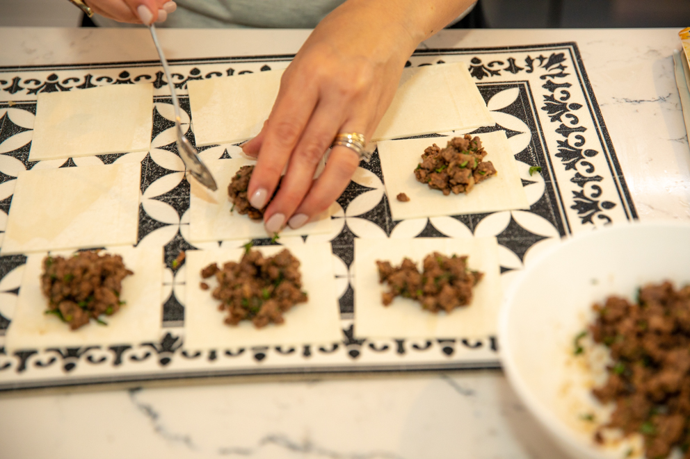 place lamb mixture onto each cut puff pastry