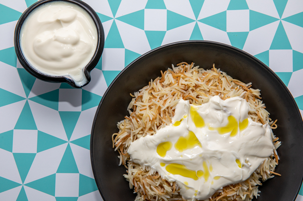 rice vermicelli served with natural yogurt