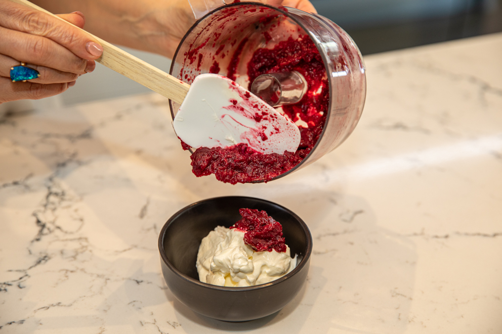 combining pureed beetroot and labneh