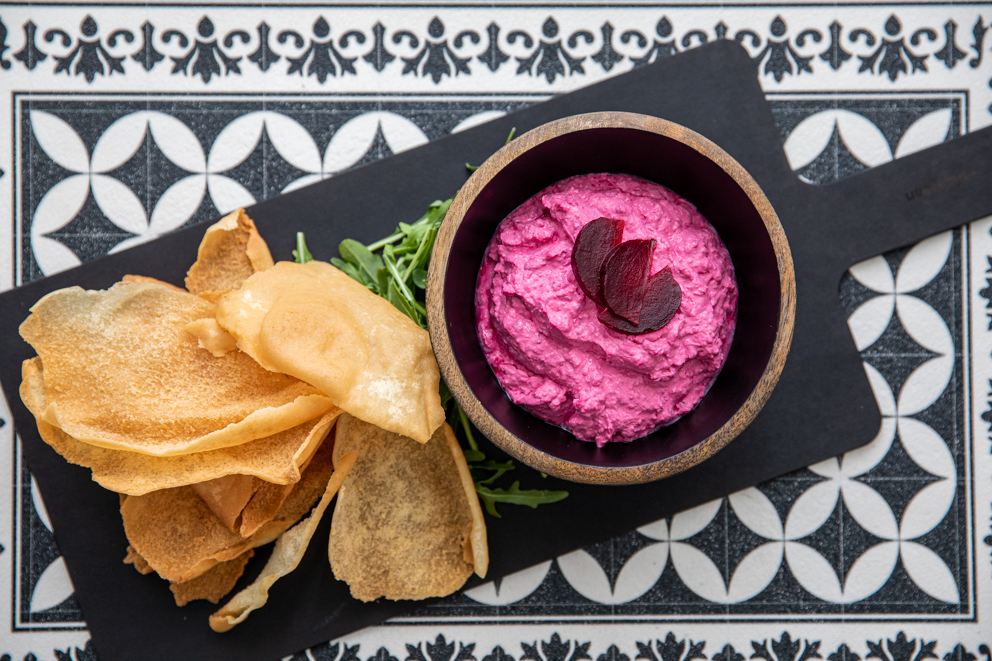 beetroot labneh served with crispy bread