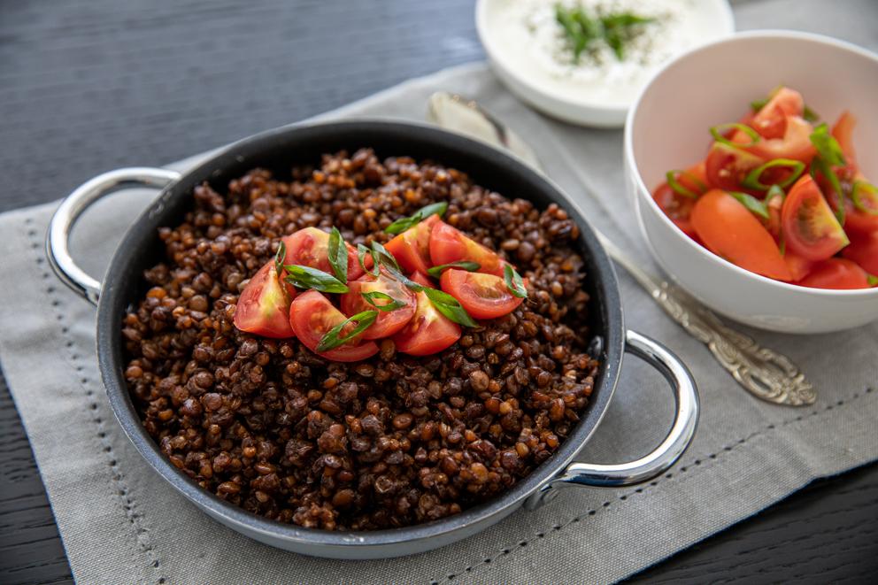 caramelised lentil pilaf