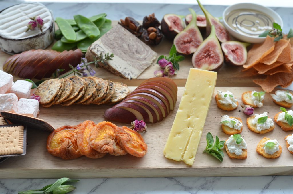 grazing cheese platter for 2-4 people ready to be enjoyed