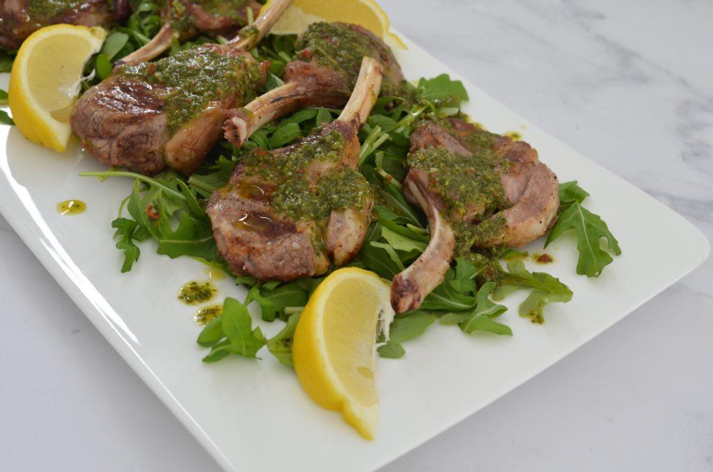 lamb cutlets and herb salsa