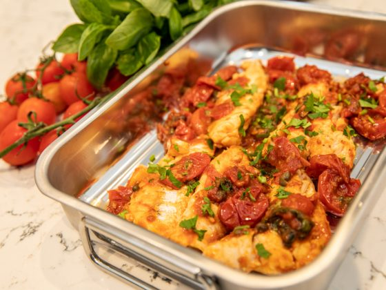 seared fish with olives and tomatoes