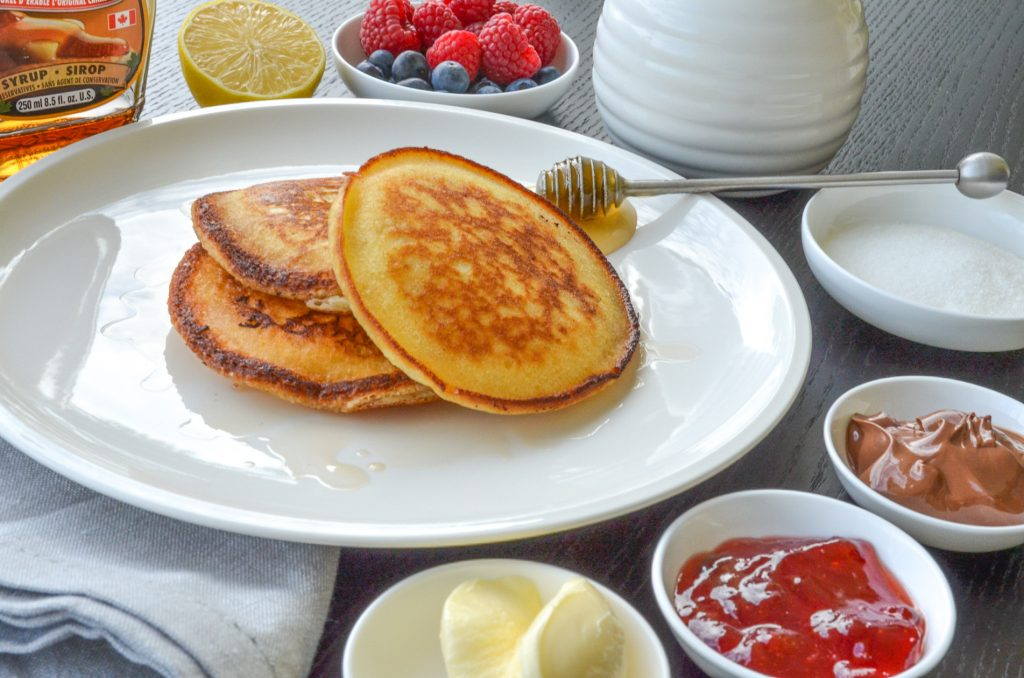 homemade pancakes with condiments