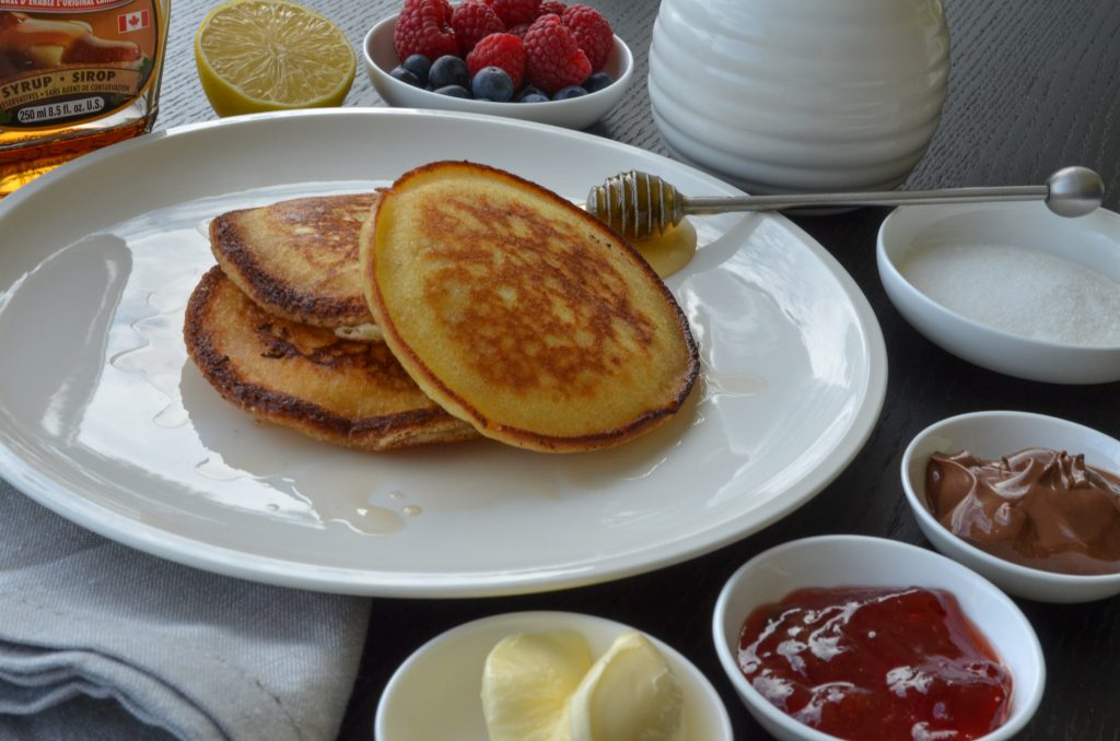 simple home-made pancakes-with choice of condiments