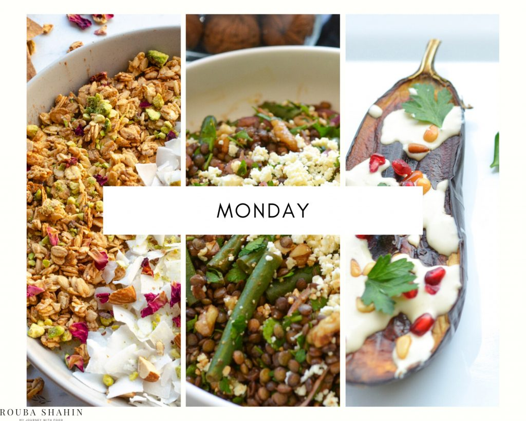 Plant-based menu for Monday