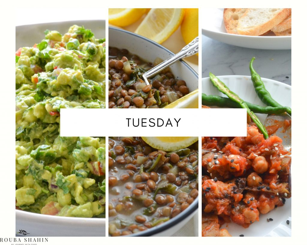 Plant-based menu for Tuesday