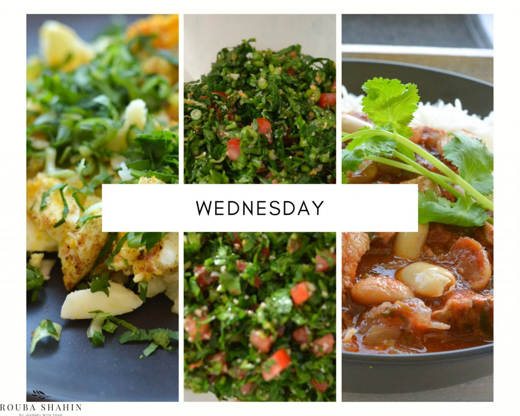 Plant-based menu for Wednesday