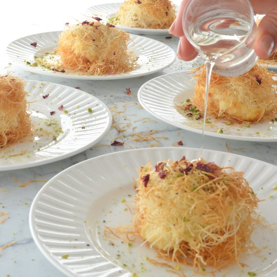 Knafeh - Syrup Soaked Shredded Pastry with Orange Blossom Creamy Filling