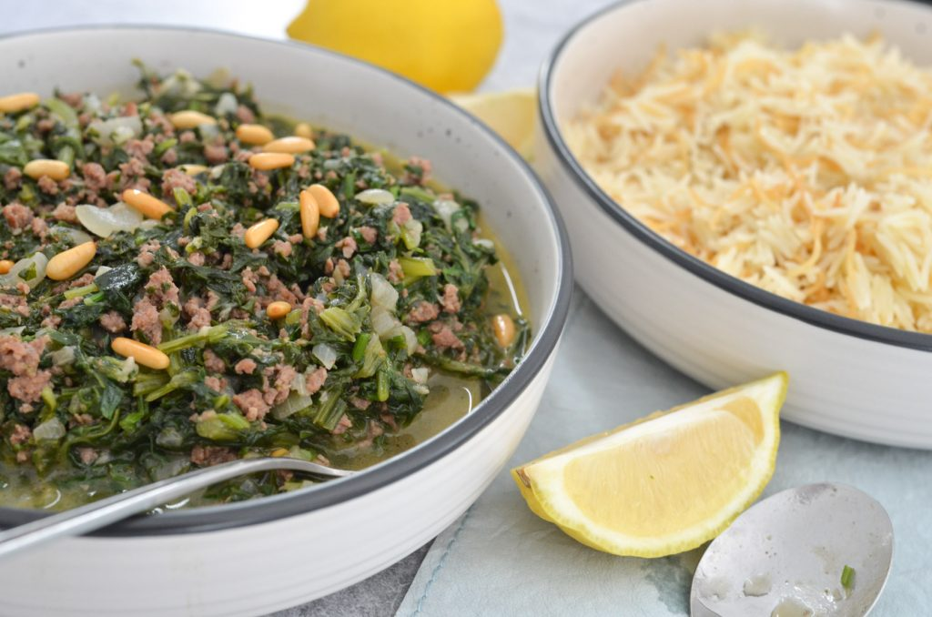 casserole of spinach and rice served in a bowl