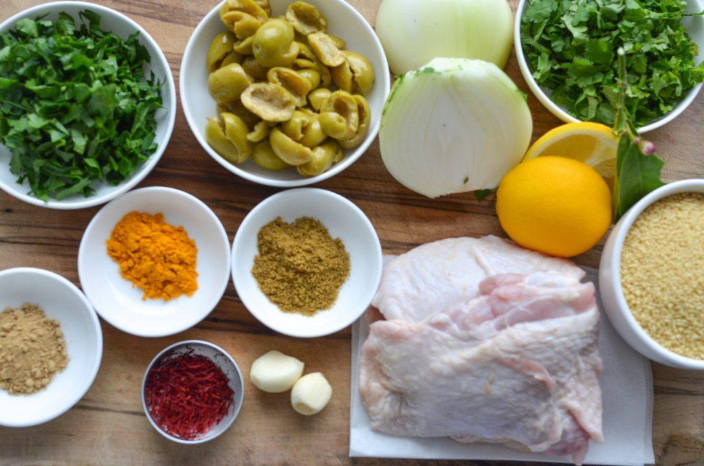 green olives and saffron chicken tagine ingredients