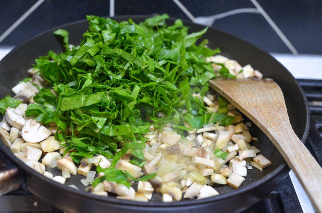 sauteing filling for potato croquette - kibbet batata