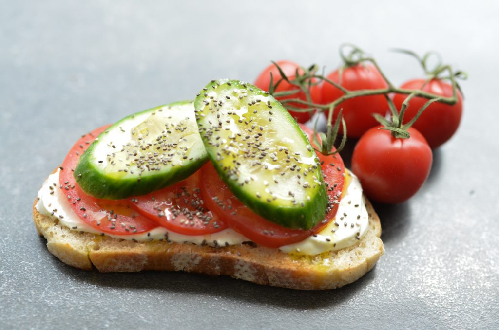 labneh bruschetta with tomato and cucumber