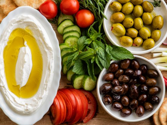 Lebanese food of Labneh Yogurt olives and veggies