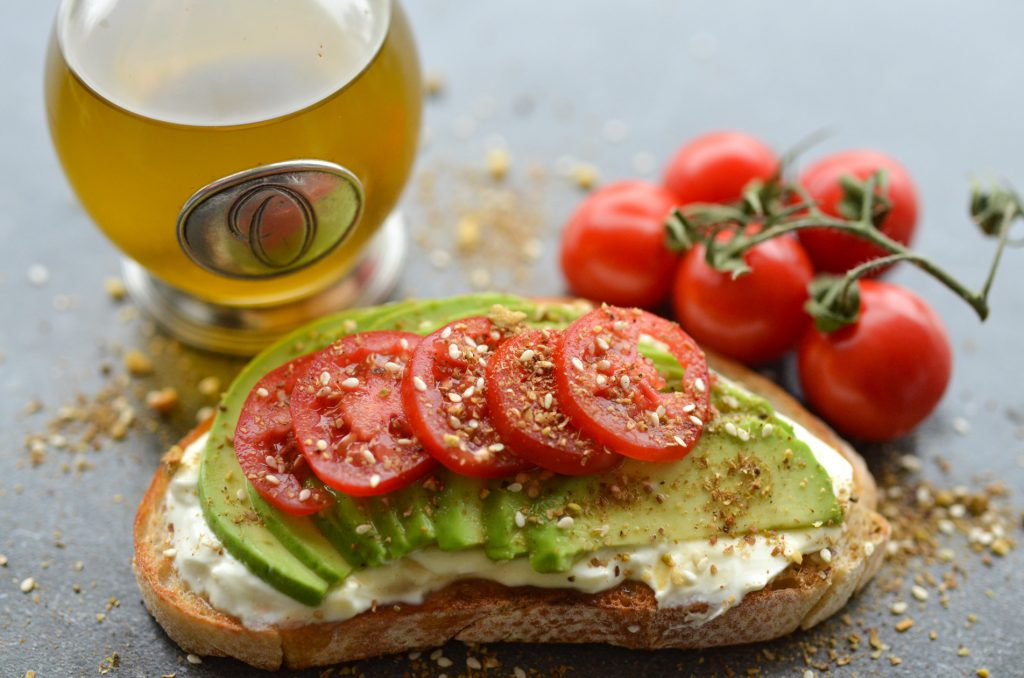 Avocado and tomato labneh bruschetta