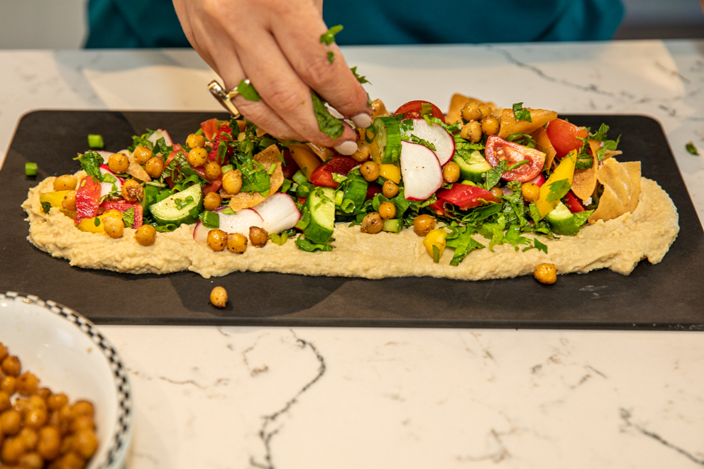 Scatter toasted chickpeas all over - Roasted Chickpea and Hummus salad