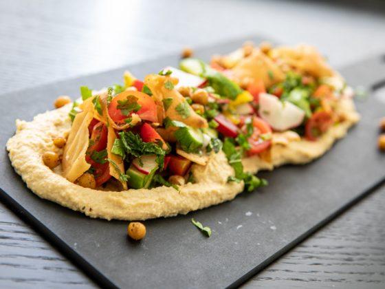 Roasted Chickpea and Hummus salad