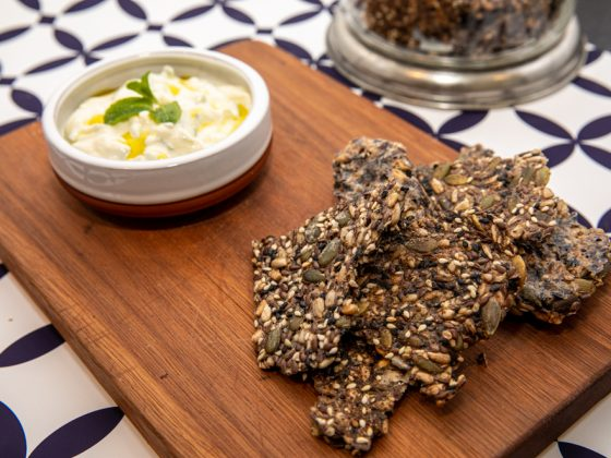 easy seeded crackers served with a dip