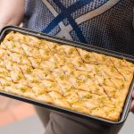 baklawa tray held by hand