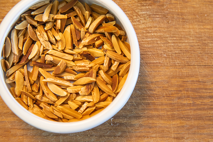slivered almonds in a bowl