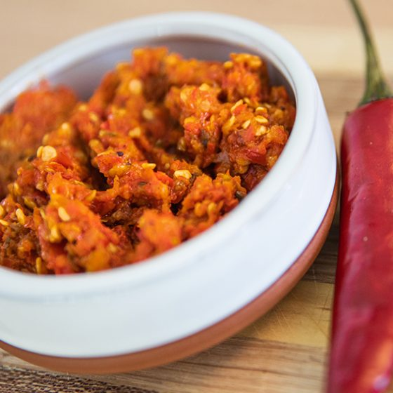 homemade chili paste in a bowl