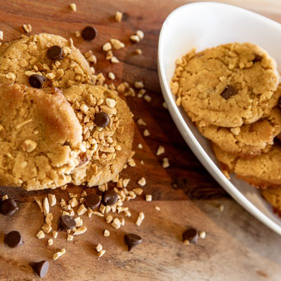 choc chip peanut butter cookies served on a board