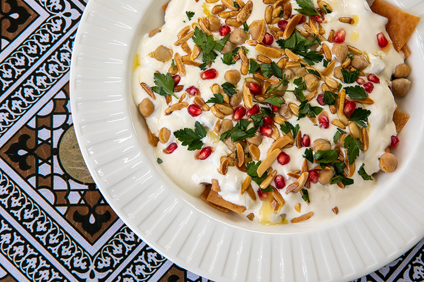 chickpea fatteh served in a bowl