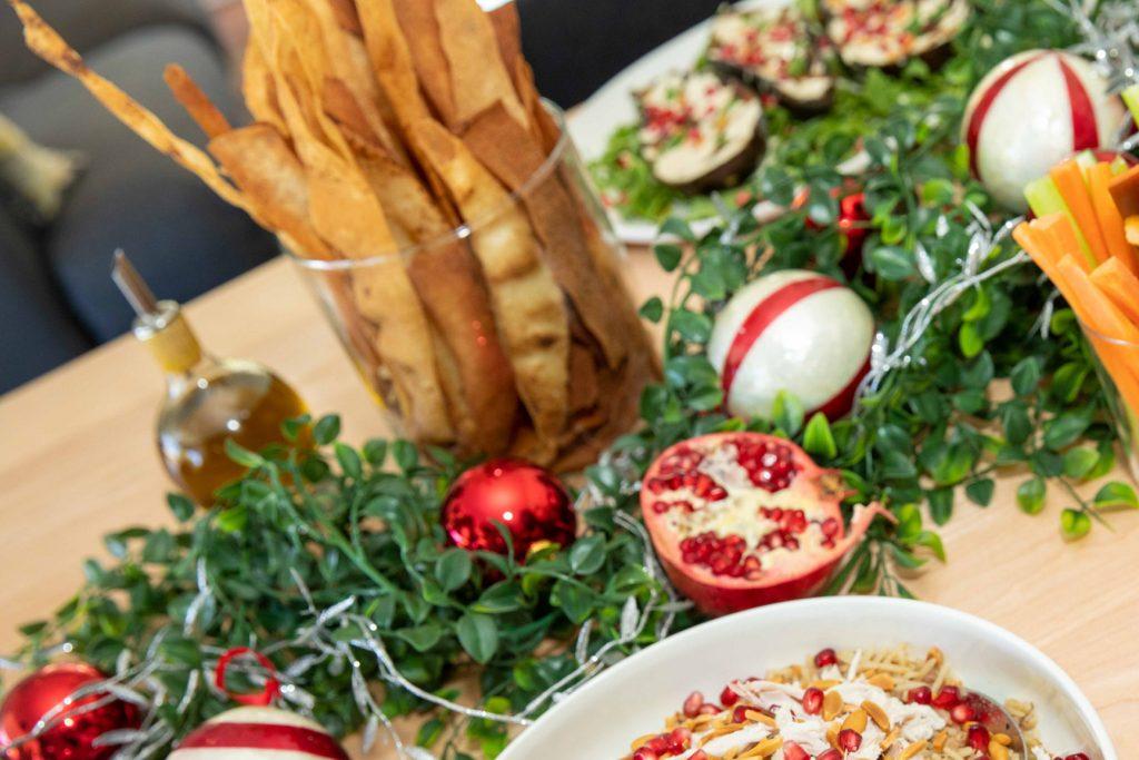crispy bread sticks on a christmas lunch table